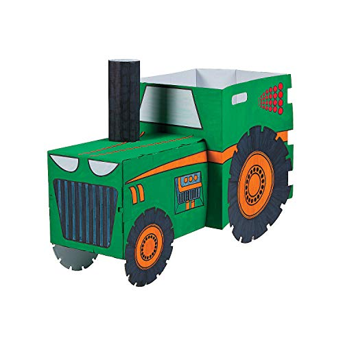 Cardboard Box Halloween Costume Ideas (Fun Express Color Your Own Tractor Box Costume - Kids Halloween)