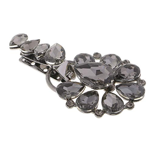 MOPOLIS 1 Pair Duck-mouth Buckle Flower Rhinestone Crystal Button for Women Clothes | Color - Black