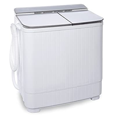Ivation Small Compact Portable Washing Machine - Twin Tub Washer & Spin with 8 Lb. Wash Capacity & 4.4 Lb. Spin Capacity - Includes Drainage Pump & Tube - Ideal for Dorm Rooms, RV & More