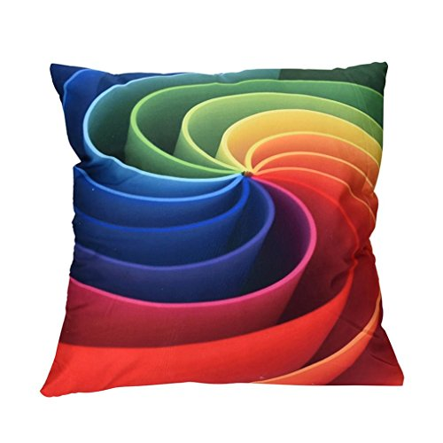 Leyorie Multicolor 3D Print Pillow Cases Polyester Sofa Car Cushion Cover Home Decor (C) (Price Sofa Cloth)