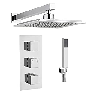 Concealed Thermostatic Shower Mixer Valve Overhead 2 Outlet Rain Drench Kits (Square 3 Handle 2 Outlet)