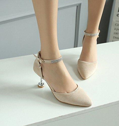 MissSaSa Damen high heel Knöchelriemchen Pointed Toe Pumps mit Strass Beige