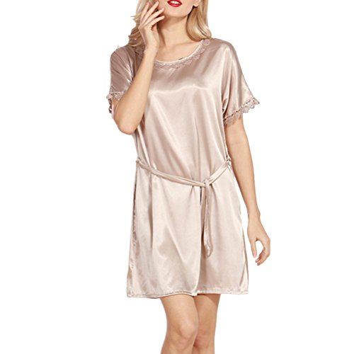 Zhhlaixing Fashion Silk Bridesmaid Bride Robe Women Short Satin Wedding Kimono Robes Sleepwear Nightgown Dress Woman Bathrobe Pajamas 2110# Camel
