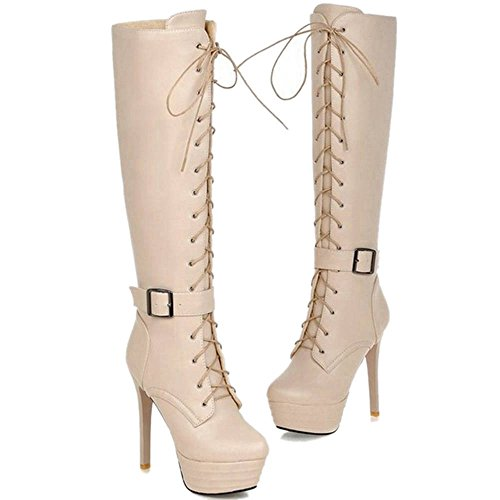 Knee Stiletto Thin Heel Women Fashion Sjjh Lace Beige up Thick And Knight Boots With Platform For 5zHwn8