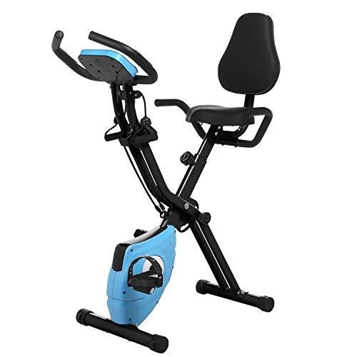 (ANCHEER 2 in1 Folding Exercise Bike, Slim Cycle Indoor Stationary Bike with 10-Level Adjustable Magnetic Resistance and Arm Training Bands (Blue))