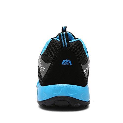 para caminar Zapatillas malla Lakerom mujeres y para transpirables Zapatillas hombres libre aire al Negro de tvq08