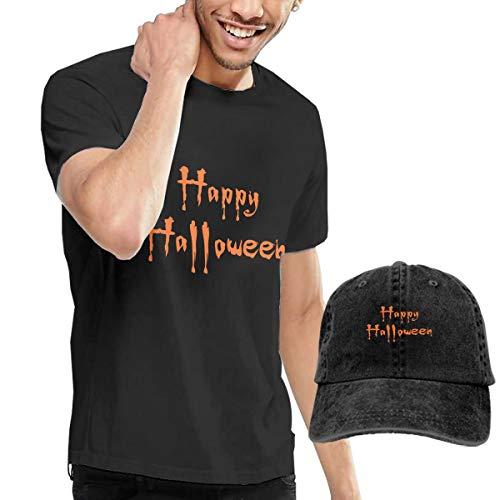Pokuisnb Casual Men's T Shirt and Caps Combination Black for Fitness Happy Halloween -
