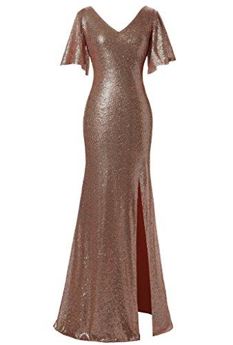 V-Neck Flutter Sleeve Dress - 1