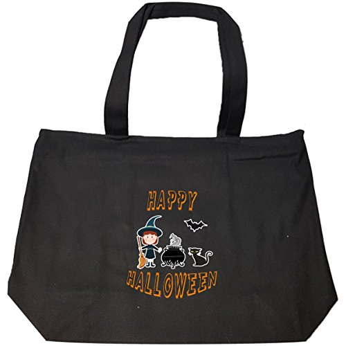 Witch Cauldron Handbag (Happy Halloween Witch And Cauldron - Tote Bag With Zip)