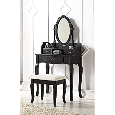 3-Piece Wood Make-Up Mirror Carved Vanity Dresser Table and Stool Set, Black