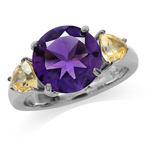 4.04ct. Natural Round Shape African Amethyst & Citrine 925 Sterling Silver Cocktail Ring Size 10
