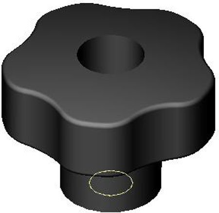 1.57 Dia. Five Lobe Elesa Plastic Knob 1 Each Black Plastic 5//16-18 Thru
