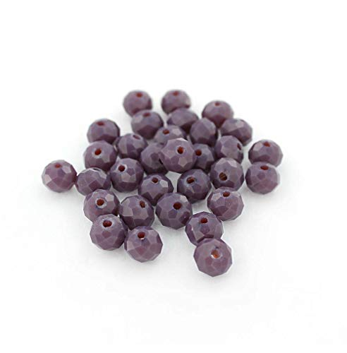 25 Faceted Glass Beads Opaque Purple Crystal Rondelles 8mm x 6mm - BD685 (Five Faceted Gemstone)