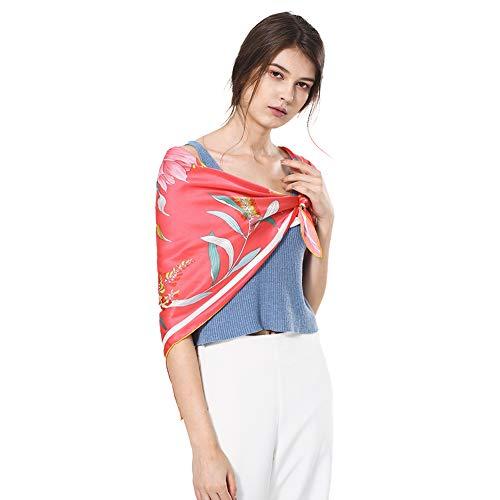 100 Silk Square Scarf For Women Chamo Pomeo Fashion Pattern Large Satin Wrap Flowers Headscarf 35.4''x35.4'' ()