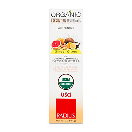 RADIUS - Organic Coconut Oil Toothpaste, USDA Organic Certified Naturally Whitening and Reduces Risk of Cavities and Gengivitis, Pack of 6 (Ginger Citrus, 3 oz)