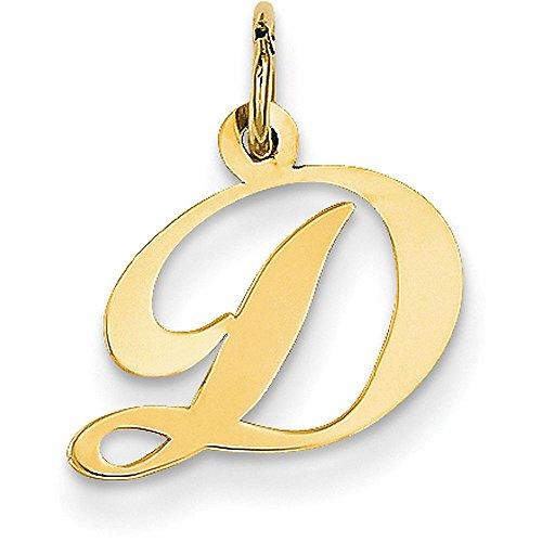 14k Yellow Gold Cursive Script Initial Pendant - Letter D - Yellow Gold (Letter Gold 14k Yellow)