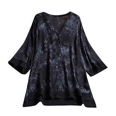 TWGONE V Neck Tunic Tops for Leggings for Women Plus Size Loose Linen 3/4 Sleeve Button Shirt Blouse