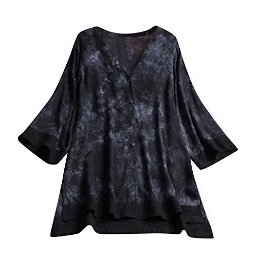 LUCA Womens Vintage Blouse Casual Long Shirt Top T-Shirts Plus Size(Black 12,XL)