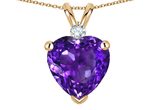 Star K 8mm Genuine Amethyst Heart Pendant Necklace 14 kt Yellow Gold