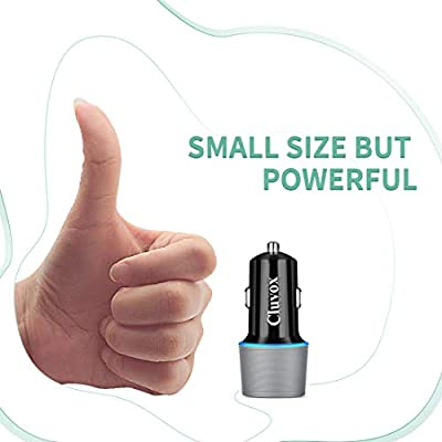 Cluvox Fast Car Charger Compatible for iPhone 11 Pro MAX/11 Pro/XS/MAX/XR/X/8/iPad Pro/Air/SE 2020, Samsung Galaxy S20/Plus/Ultra/S10/Note 10, LG, Moto Dual USB Car Lighter Adapter 18W with LED Light: Home Audio & Theater