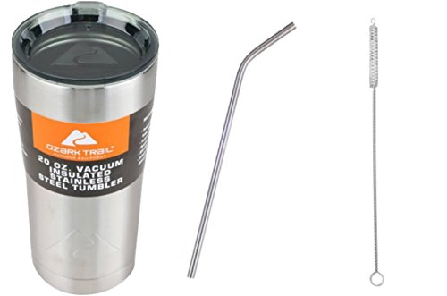 Ozark Trail Tumbler 20oz Gift Set | Includes Stainless Steel Tumbler with Straw and Straw Cleaner