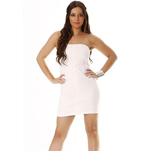 Miss Wear Line - Robe bustier blanche, doublé dentelle à l'avant avec zip au dos