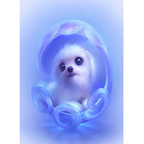 DIY 5D Diamond Painting by Number Kits,Full Drill,Diamond Embroidery Paintings Arts Craft for Home Wall Decor Puppy 11.8x15.7in 1 Pack by JU-JXIONG