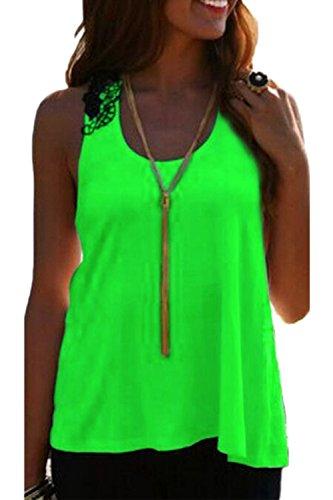 Camisas de moda sin respaldo T de mujer encaje Patchwork Green