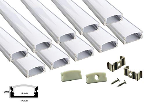 Muzata 10 Pack 6.6ft/2Meter U Shape LED Aluminum Channel System with Cover, End Caps and Mounting Clips, Aluminum Profile for LED Strip Light