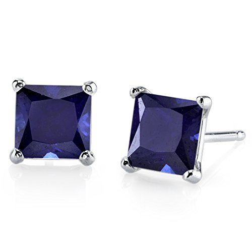 Synthetic Sapphire Earrings - 14 Karat White Gold Princess Cut 2.75 Carats Created Blue Sapphire Stud Earrings
