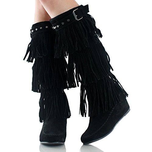 Suede Nature Boots Black High Breeze Moc Knee Bridget Wedge Toe Womens Hnx4rqHAvw