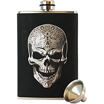 8oz Stainless Steel Primo 18/8 #304 Skull Wrap Premium/Heavy Duty Hip Flask Gift Set - Includes Funnel and Gift Box