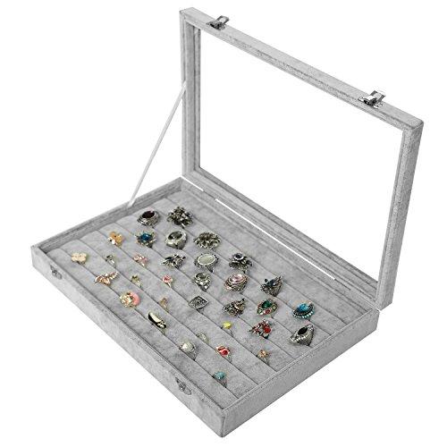 Velvet Ring Display Box w/ Clear Glass Lid, 7 Row Showcas...