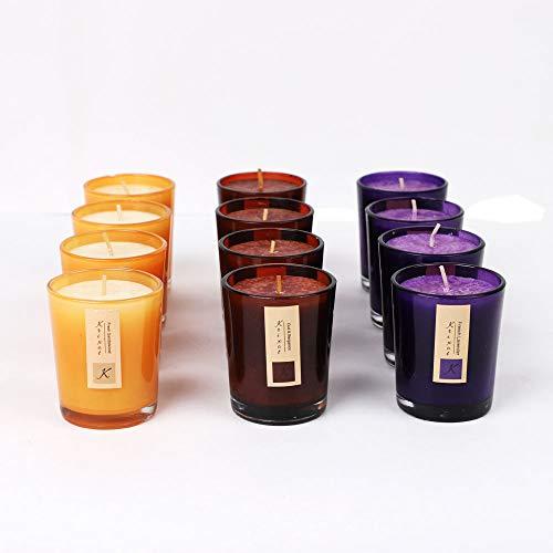 KRIXOT Assorted Set of 12 Coloured Glass Votives in 3 Fragrances | Oud & Bergamot, Sandalwood & Lavender | Break Proof Packaging | Burn Time Upto 15 Hrs ()