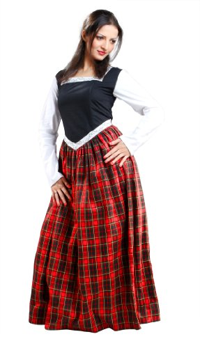 Armor Venue - Highland Dress - Scottish Gown Costume - Black/Red -