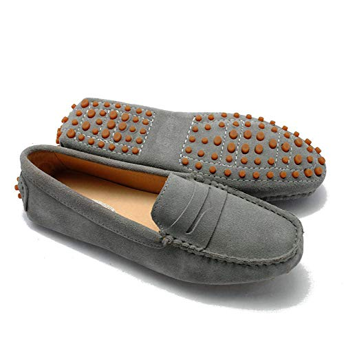 Lucky Exclusive Girls Womens Casual Comfortable Suede Leather Driving Moccasins Loafers Boat Shoes Flats Grey ()