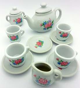 kids porcelain large 12 piece tea set by eds toys games. Black Bedroom Furniture Sets. Home Design Ideas