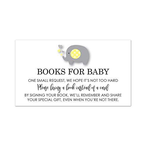 - MyExpression.com 48 Grey Yellow Elephant Bring a Book Baby Shower Card