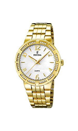 University Sports Press  F16704/1 – Reloj de cuarzo para mujer, con correa de acero inoxidable chapado, color dorado