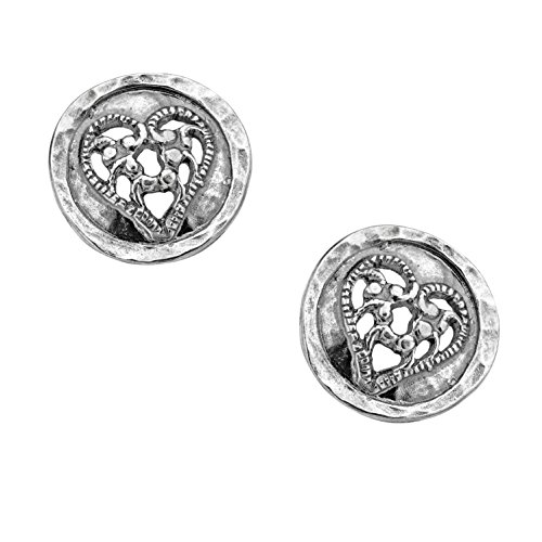 ♥925 Sterling Silver Lace Heart Design Stud Earrings by Paz Creations Fine Jewelry made in (Israel Post)