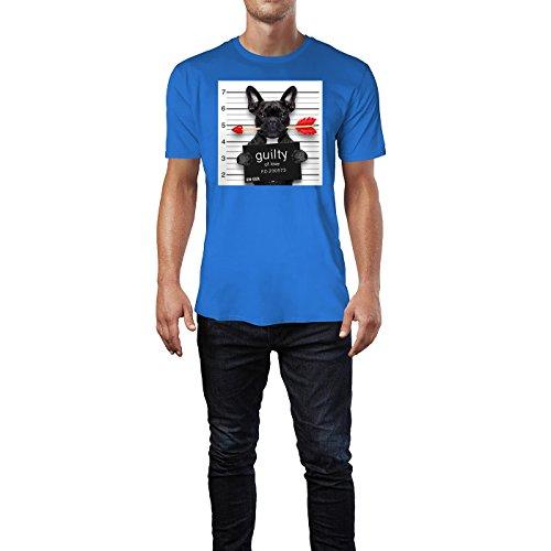 SINUS ART ® Bulldoge mit Liebespfeil – Guilty For Love Herren T-Shirts in Blau Fun Shirt mit tollen Aufdruck