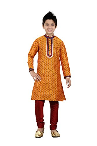 Da Facioun Indian Designer Partywear Ethnic Wedding Orange Wedding Readymade Kid by Da Facioun