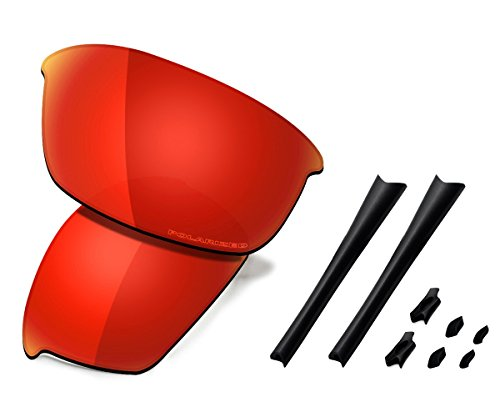 Saucer Premium Replacement Lenses & Rubber Kits for Oakley Flak Jacket Sunglasses High Defense - Fire Red Polarized