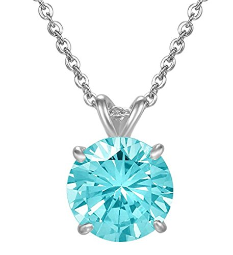 Sterling Silver March Birthstone Necklace 16 inch 2 Carat Aquamarine Necklace Anniversary Birthday Mother's Gift SSNK16-50