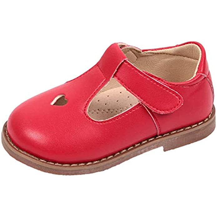 WUIWUIYU Girls Princess Oxfords Shoes T-Strap Casual Walking School Uniform Dress Mary Jane Flats