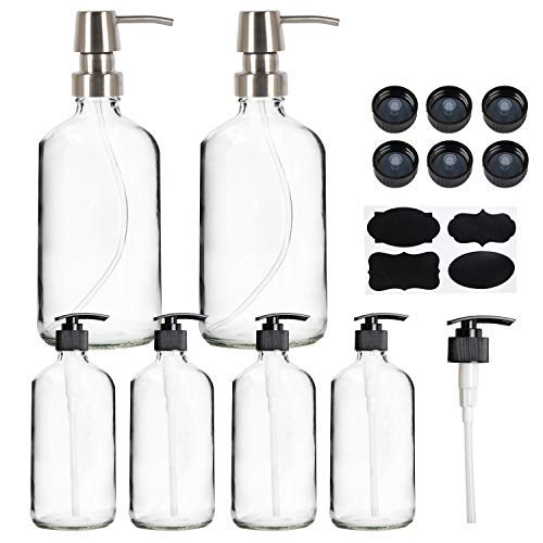 Youngever 16 Ounce Clear Glass Boston Round Bottles with Stainless Steel Pumps (2 Pack), 8 Ounce Clear Glass Bottles with Black Pumps (4 Pack), Free Labels and Extra Pumps and Lids