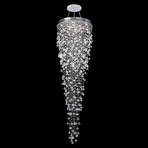 7PM H110'' x W40'' Luxury Round Rain Drop Pendant Lamp Clear K9 Crystal Chandelier for Hotel Hall Staircase Lighting Fixture