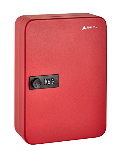 AdirOffice Key Steel Security Cabinet Box - 48 Keys capacity - Combination Lock (Red)