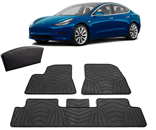 #1 Tesla Model 3 Floor Mats - Bonus Leather Pocket Organizer - All Weather Anti-Slip Genuine Rubber Heavy Duty 2017-2019 (4 Pack Front & Rear) Non-Odor Accessories