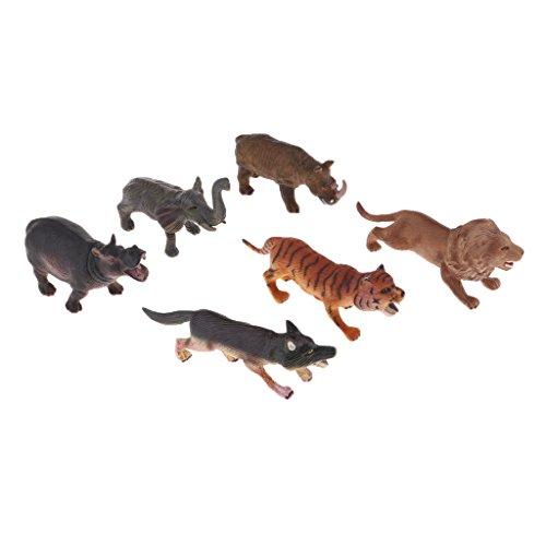 Perfk 6個 プラスチック製 生き生きとした 動物フィギュア おもちゃ 全2選択 - #1の商品画像